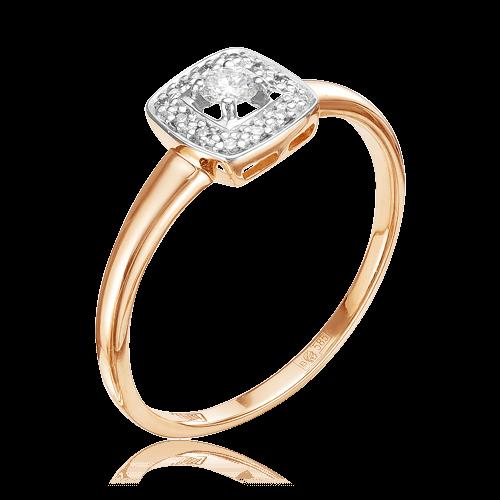 Кольцо с бриллиантами из красного золота 585 пробыКольца<br>Кольцо с бриллиантами из красного золота 585 пробы. Характеристики вставок: 1 бриллиант кр57 3/6а 0,098, 12 бриллиант кр57 4/5а 0,043. Средний вес изделия: 1,64 гр.<br>