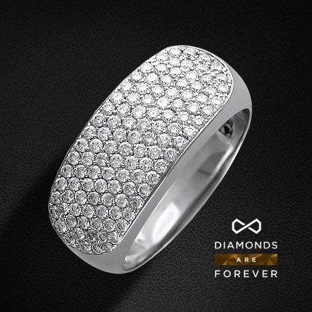 Кольцо с бриллиантовой россыпью Божественная грацияКольца<br>Кольцо из белого золота 585 пробы, украшенное 93 бриллиантами общим весом 0.708 карат<br>