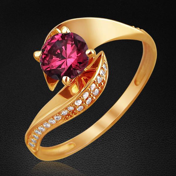 Кольцо с фианитами из красного золота 585 пробыКольца<br>Кольцо с фианитами из красного золота 585 пробы. Характеристики вставок: фианит круг  40шт.,0.36ct ; фианит цв. круг  1шт.,0.84ct. Средний вес изделия: 1,88 гр.<br>