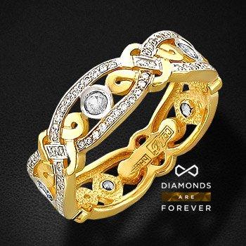 Кольцо с бриллиантами из желтого золота 750 пробыКольца<br>Кольцо с бриллиантами из желтого золота 750 пробы. Характеристики вставок: бриллиант кр-57 2/4 5шт.,0.19ct ; бриллиант кр-57 3/4 120шт.,0.33ct. Средний вес изделия: 5,68 гр.<br>