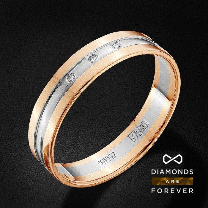Обручальное кольцо с бриллиантами из красного золота 585 пробыКольца<br>Обручальное кольцо с бриллиантами из красного золота 585 пробы. Характеристики вставок: 3 бриллиант кр 57 3/5а 0.95-1.0 0.013ct.. Средний вес изделия: 3.29 гр.<br>