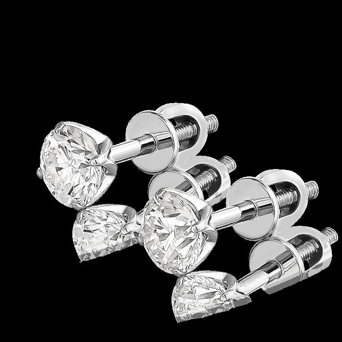 Пусеты с бриллиантами в белом золоте 585 пробы  - купить со скидкой