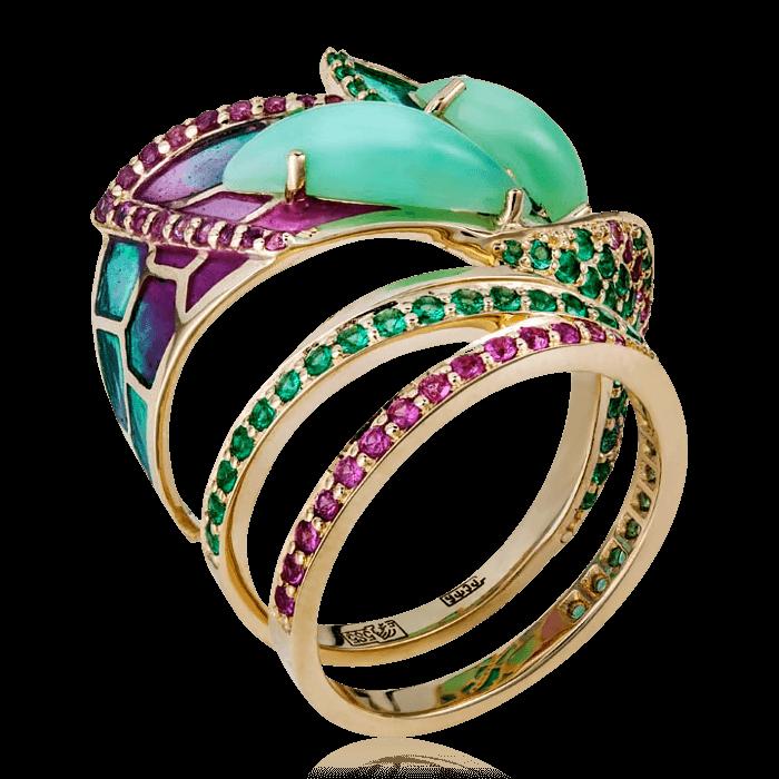 Купить Кольцо Libelle с хризопразом, эмалью, тсаворитом, сапфиром из желтого золота 585 пробы