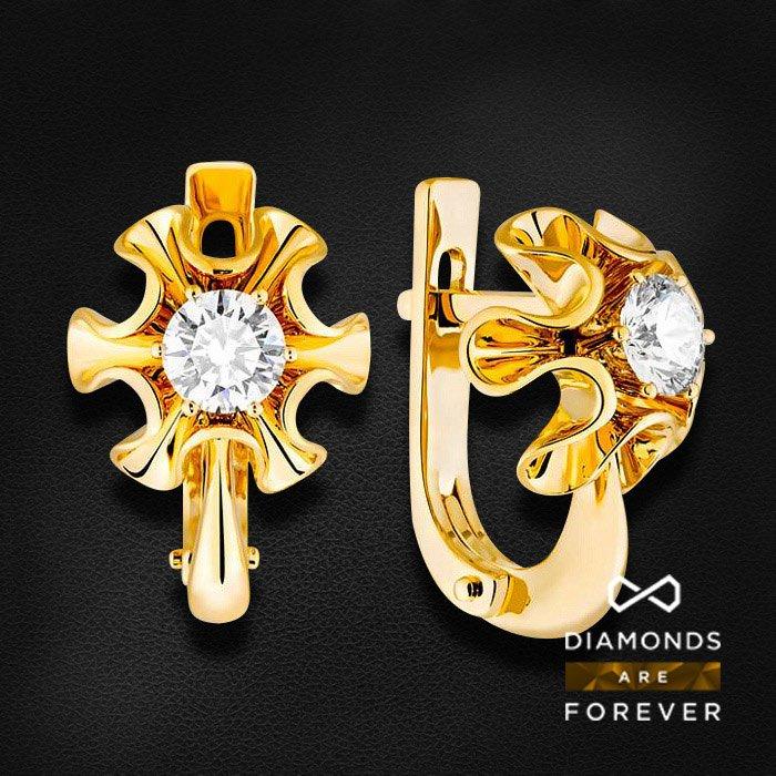 Серьги с бриллиантами в желтом золотеСерьги с бриллиантами<br>Серьги с бриллиантами в желтом золоте 585 пробы. Характеристики: 2 бриллиант 0.62. Средний вес: 4.82 гр.<br>