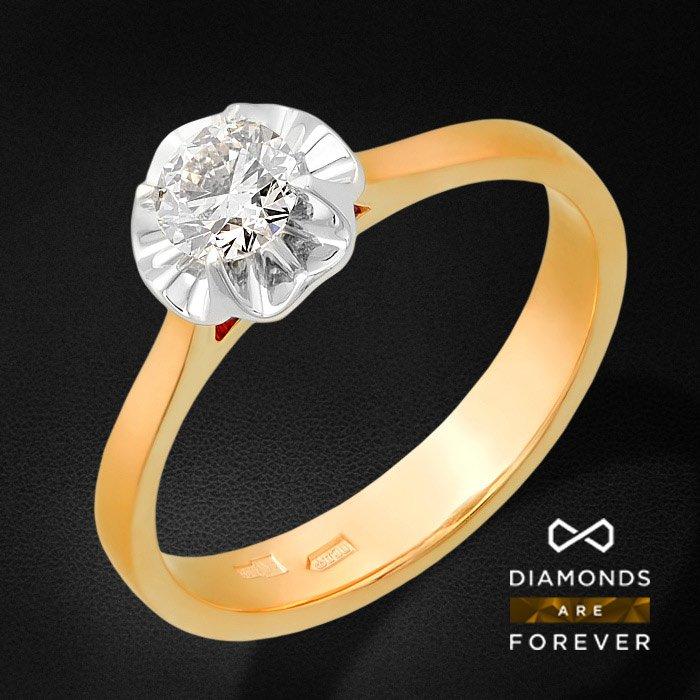 Кольцо с бриллиантами из красного золота 585 пробыКольца<br>Кольцо с бриллиантами из красного золота 585 пробы. Характеристики вставок: бриллиант 57кр 1-0.49ct 5/5а. Средний вес изделия: 3.54 гр.<br>