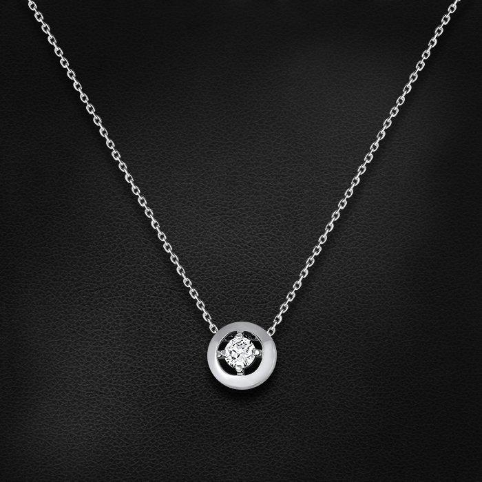Колье с бриллиантами из белого золота 585 пробыКолье<br>Колье с бриллиантами из белого золота 585 пробы. Характеристики вставок: 1 бриллиант кр57 5-6 0,189 3/6а. Средний вес изделия: 2,11 гр.<br>