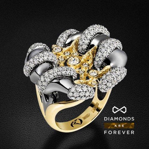 Кольцо с 225 бриллиантами из комбинированного золота 585 пробы (коллекция Стихии)Ювелирные украшения<br>Кольцо с 225 бриллиантами из комбинированного золота 585 пробы. Характеристики вставок: 225 бриллиантов 1.466 карат. Средний вес: 17,2 гр.<br>