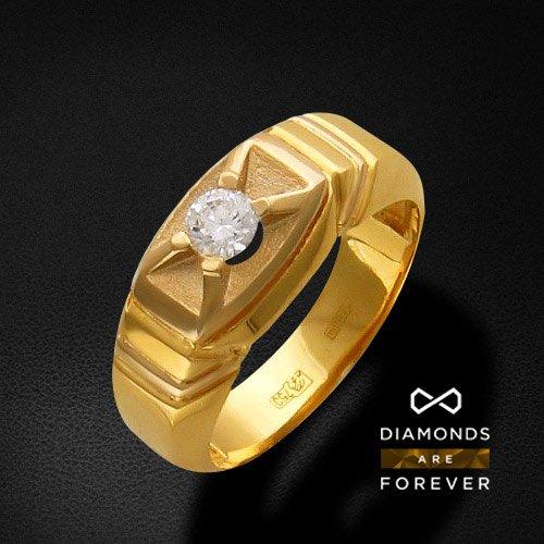 Мужское кольцо с бриллиантами из комбинированного золота 750 пробыДля мужчин<br>Мужское кольцо с бриллиантами из комбинированного золота 750 пробы. Характеристики: бриллиант 82/7 1шт.,0.31ct. Средний вес изделия: 11,07 гр.<br>