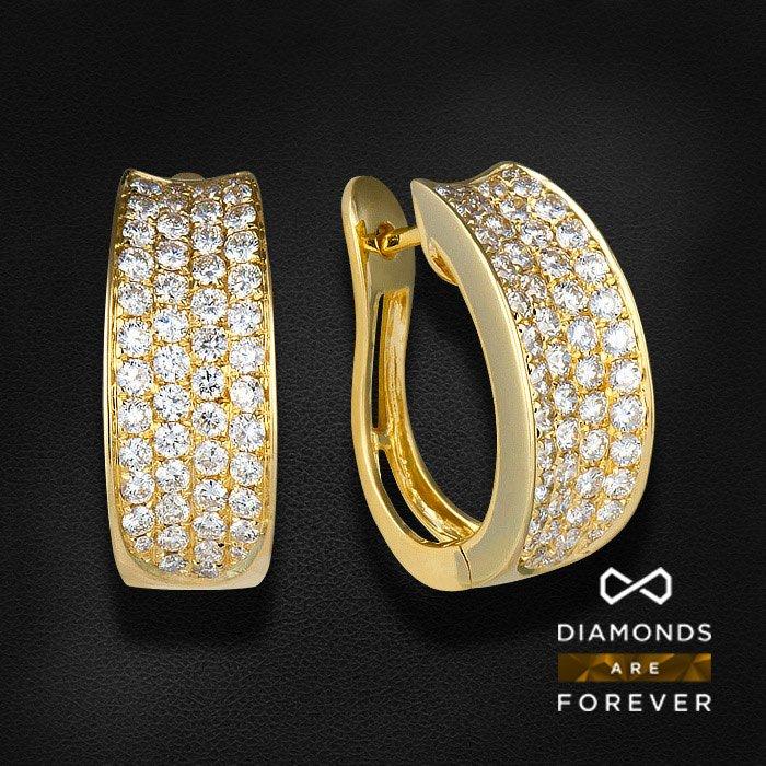 Серьги с бриллиантами из желтого золота 750 пробыСерьги<br>Серьги с бриллиантами из желтого золота 750 пробы. Характеристики вставок: 102 бриллиант кр57 1.16 3/5 а. Средний вес изделия: 6,62 гр.<br>