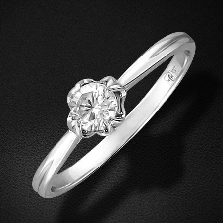 Кольцо с 1 бриллиантом из белого золота 585 пробыКольца<br>Кольцо с бриллиантами из белого золота 585 пробы. Характеристики вставок: бриллиант кр-57 4/7 1шт.,0.23ct. Средний вес изделия: 1,38 гр.<br>