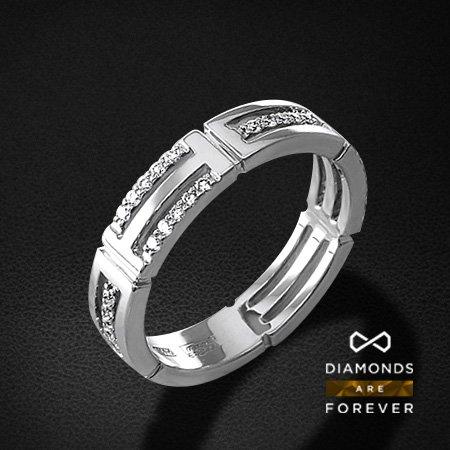 Обручальное кольцо с бриллиантами из белого золота 585 пробыОбручальные кольца<br>Обручальное кольцо с бриллиантами из белого золота 585 пробы. Характеристики вставок: 35 бриллиант кр57 0.24. Средний вес изделия: 4.55 гр.<br>
