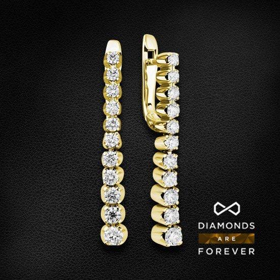 Длинные серьги с бриллиантами из желтого золота 750 пробыСерьги с бриллиантами<br>Длинные серьги с бриллиантами из желтого золота 750 пробы. Характеристики вставок: 6 бриллиант кр57-0,644 3/4а, 16 бриллиант кр57-0,83 3/4а. Средний вес изделия: 9.07 гр.<br>