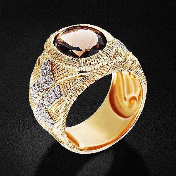 Кольцо с бриллиантами, раухтопазом из желтого золота 585 пробыКольца<br>Кольцо с бриллиантами, раухтопазом из желтого золота 585 пробы. Характеристики вставок: раухтопаз - 1шт., вес 3.53; бриллиант кр57 4/5 - 80шт., вес 0.46. Средний вес изделия: 11,09 гр.<br>