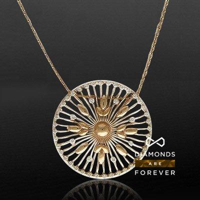 Колье с бриллиантами из красного золота 585 пробы из коллекции Sole (Bergio)Колье<br>Колье из красного золота 585 пробы, украшенное 48 бриллиантами общим весом 1.24 карат<br>