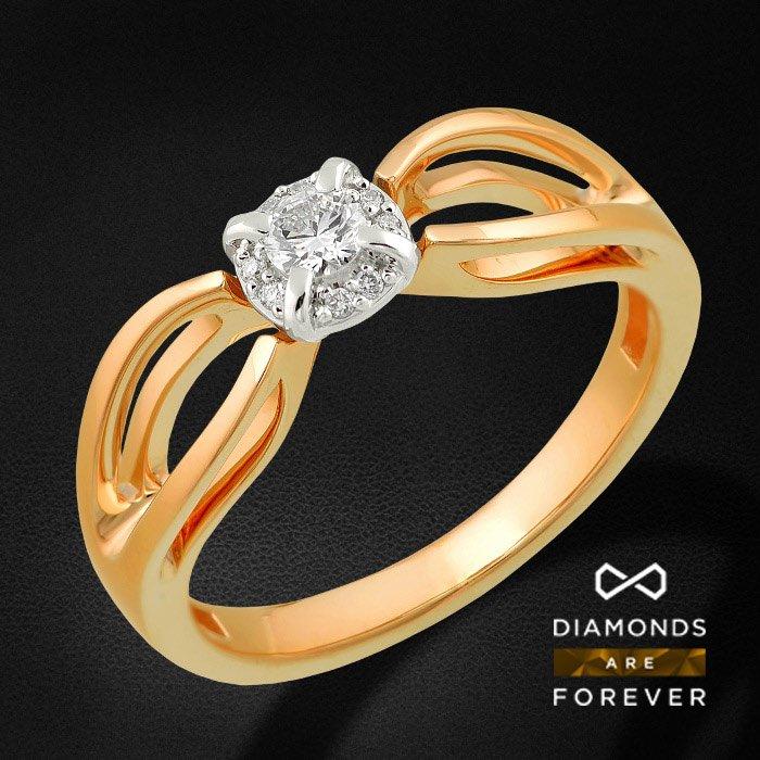 Кольцо для помолвки с бриллиантами из красного золота 585 пробыКольца<br>Кольцо для помолвки с бриллиантами из красного золота 585 пробы. Характеристики: 1 бриллиант 0.117 5/5А, 8 бриллиантов 0.027 5/5А. Средний вес: 3,11 гр.<br>