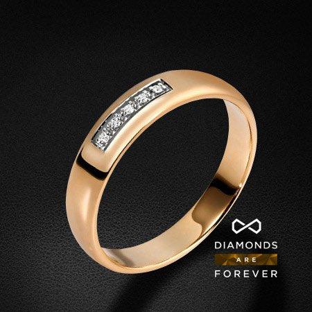 Обручальное кольцо с 5 бриллиантами из красного золота 585 пробыКольца<br>Обручальное кольцо с 5 бриллиантами из красного золота 585 пробы. Характеристики вставок: 5 бриллиантов 0.025 карат. Средний вес: 3,53 гр.<br>