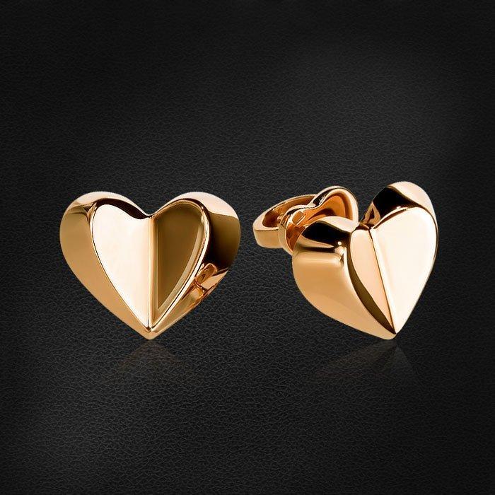 Пусеты в форме сердец из красного золота 585 пробыСерьги<br>Пусеты в форме сердец из красного золота 585 пробы. Средний вес изделия: 2,95 гр.<br>