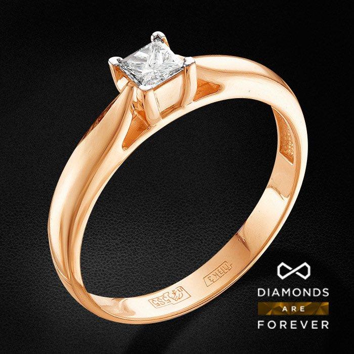 Кольцо с бриллиантами из красного золота 585 пробыКольца<br>Кольцо с бриллиантами из красного золота 585 пробы. Характеристики вставок: 1 бриллиант п-65 5-4 2/4а 3.5*3.5 0.23ct.. Средний вес изделия: 2.83 гр.<br>