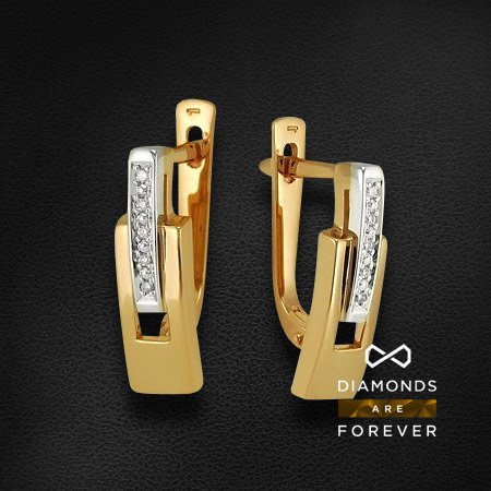 Серьги с бриллиантами из комбинированного золота 585 пробыСерьги<br>Серьги с бриллиантами из комбинированного золота 585 пробы. Характеристики вставок: бриллиант 57кр 10-0.039ct 5/5а. Средний вес изделия: 3,33 гр.<br>