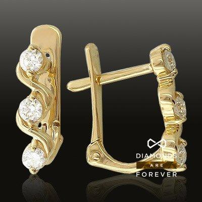 Серьги с бриллиантами из желтого золота 585 пробыЮвелирные украшения<br>Серьги с бриллиантами из желтого золота 585 пробы. Характеристики вставок: бриллиант 2/5 6шт.,0.34ct. Средний вес изделия: 2,02 гр.<br>