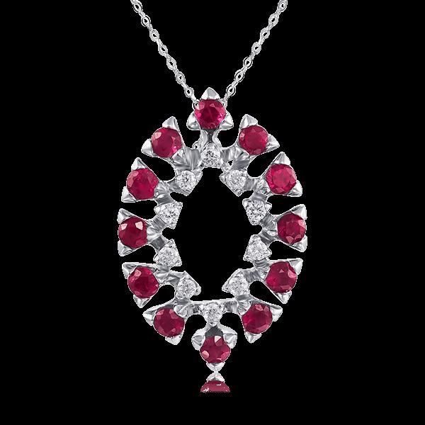 Купить Кулон с рубином, бриллиантами из белого золота 585 пробы