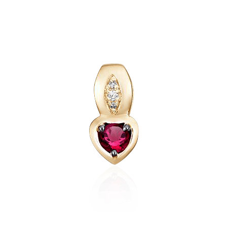 Купить Подвеска с рубином, бриллиантами из красного золота 585 пробы
