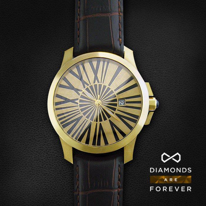 Часы с сапфиром из желтого золота 585 пробыЮвелирные украшения<br>Часы с сапфиром из желтого золота 585 пробы. Характеристики вставок: сапфир кабашон круг 2/2 1шт.,0.49ct. Средний вес изделия: 74,03 гр.<br>