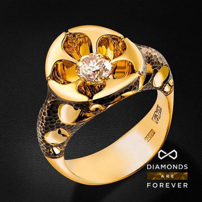 Кольцо с бриллиантами в красном золотеКольца с бриллиантами<br>Кольцо с бриллиантами в красном золоте 750 пробы. Характеристики: 1 бриллиант 0.115. Средний вес: 12.48 гр.<br>