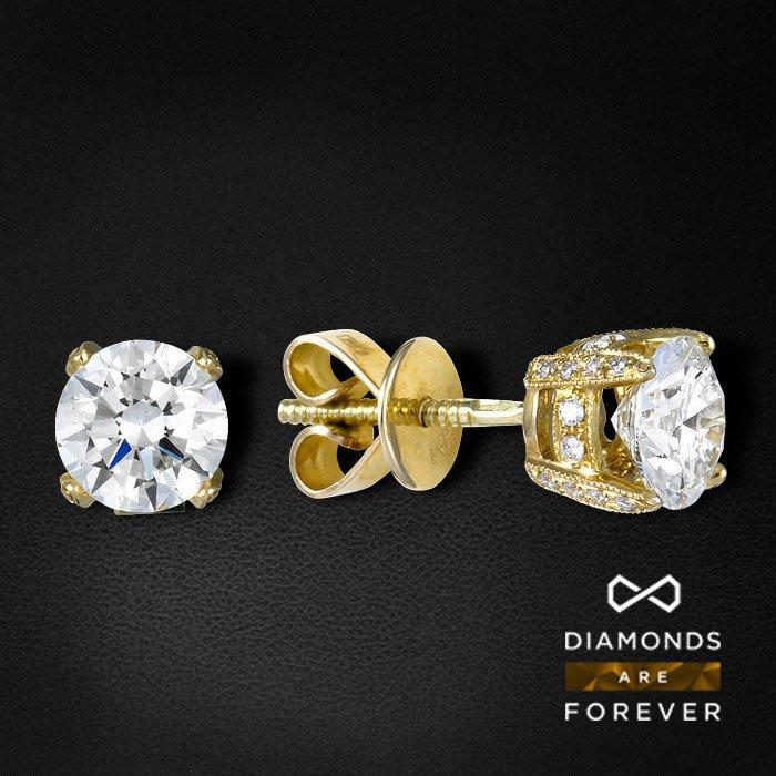 Серьги пусеты с бриллиантами из желтого золота 585 пробыСерьги<br>Серьги пусеты с бриллиантами из желтого золота 585 пробы. Характеристики вставок: 48Бр Кр-57 0.15 3/5 А; 2Бр Кр-57 1.59 7/2 А. Средний вес: 2,21 гр.<br>