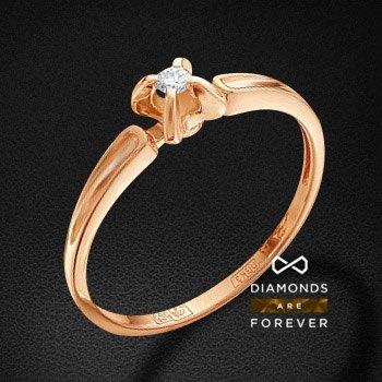 Кольцо с бриллиантами из красного золота 585 пробыКольца<br>Кольцо с бриллиантами из красного золота 585 пробы. Характеристики вставок: 1 бриллиант кр 57 25-20 3/5а 2.25 0.048ct.. Средний вес изделия: 1.63 гр.<br>