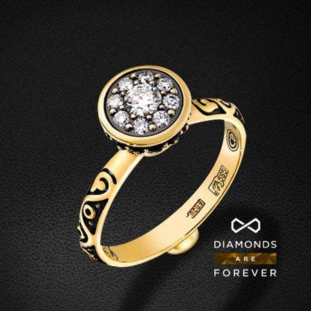 Кольцо с бриллиантами в желтом золоте 585 пробыКольца<br>Кольцо с бриллиантами в желтом золоте 585 пробы. Характеристики вставок: 9 бриллиантов 0.298. Средний вес: 3,96 гр.<br>