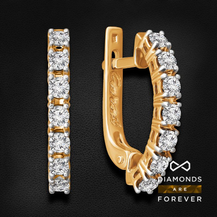Серьги с бриллиантами из красного золота 585 пробыСерьги с бриллиантами<br>Серьги с бриллиантами из красного золота 585 пробы. Характеристики вставок: 14 бриллиант кр57 0,92. Средний вес изделия: 3.95 гр.<br>