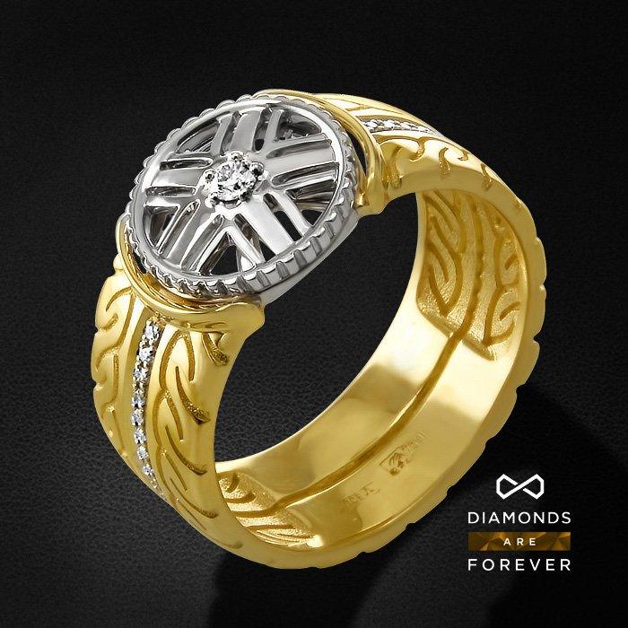 Мужское кольцо с бриллиантами из желтого золота 750 пробыПерстни<br>Мужское кольцо с бриллиантами из желтого золота 750 пробы. Характеристики вставок: 1 бриллиант кр57 0.07; 49 бриллиант кр57 0.176. Средний вес изделия: 12.83 гр.<br>