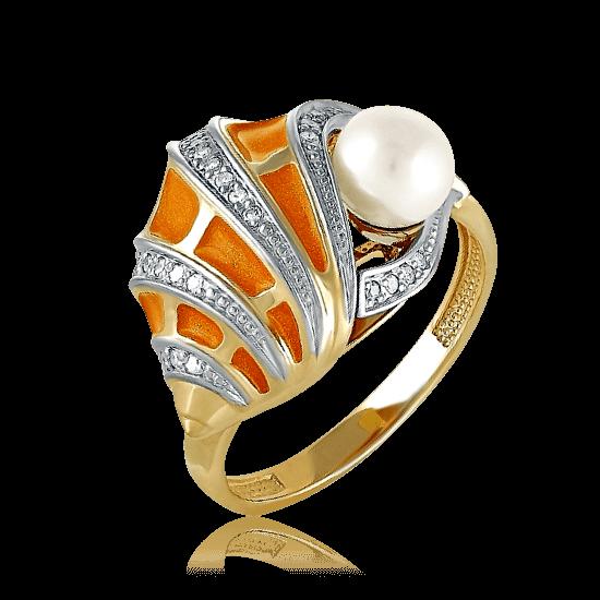 Купить Кольцо с жемчугом, бриллиантами из желтого золота 585 пробы