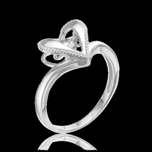 Кольцо с 1 танцующим бриллиантом из белого золота 585 пробыКольца<br>Кольцо с 1 бриллиантом из белого золота 585 пробы. Характеристики вставок: 1 бриллиант кр57 3/6а 0,09. Средний вес изделия: 2,36 гр.<br>