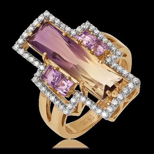 Купить Кольцо с аметрином, бриллиантами, аметистом из красного золота 585 пробы