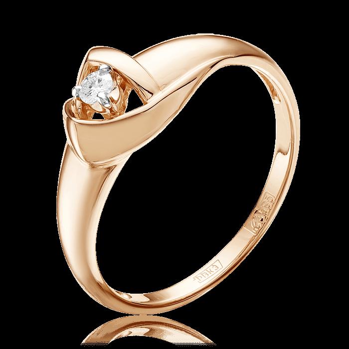 Кольцо с 1 бриллиантом из красного золота 585 пробыКольца<br>Кольцо с 1 бриллиантом из красного золота 585 пробы. Характеристики вставок: 1 бриллиант кр57 3/6а 0,066. Средний вес изделия: 2,27 гр.<br>
