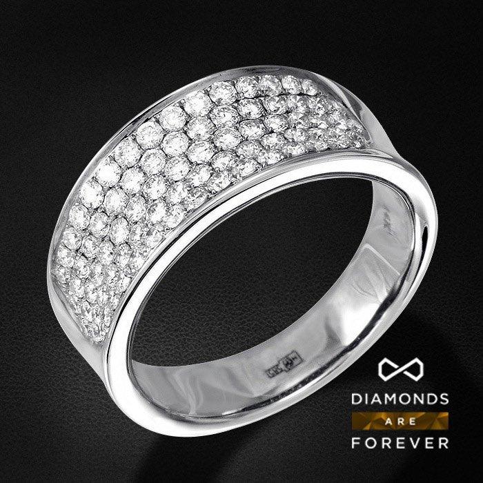Кольцо с бриллиантами из белого золота 750 пробыКольца<br>Кольцо с бриллиантами из белого золота 750 пробы. Характеристики вставок: 79 бриллиант кр57 1.17 3/5 а. Средний вес изделия: 8,16 гр.<br>