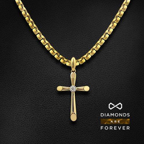 Крест с бриллиантами из комбинированного золота 585 пробыКулоны<br>Крест с бриллиантами из комбинированного золота 585 пробы. Характеристики вставок: бриллиант кр57 4/5-1-0.08ct;. Средний вес изделия: 2.44 гр.<br>