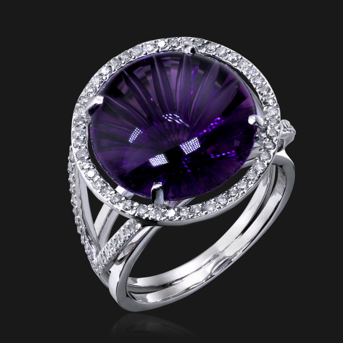 Купить Кольцо с аметистом и бриллиантами из белого золота 585 пробы