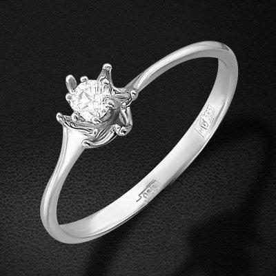 Кольцо с 1 бриллиантом из белого золота 585 пробыКольца<br>Кольцо с 1 бриллиантом из белого золота 585 пробы. Характеристики вставок: бриллиант кр-57 4/7 1шт.,0.08ct. Средний вес изделия: 1,03 гр.<br>