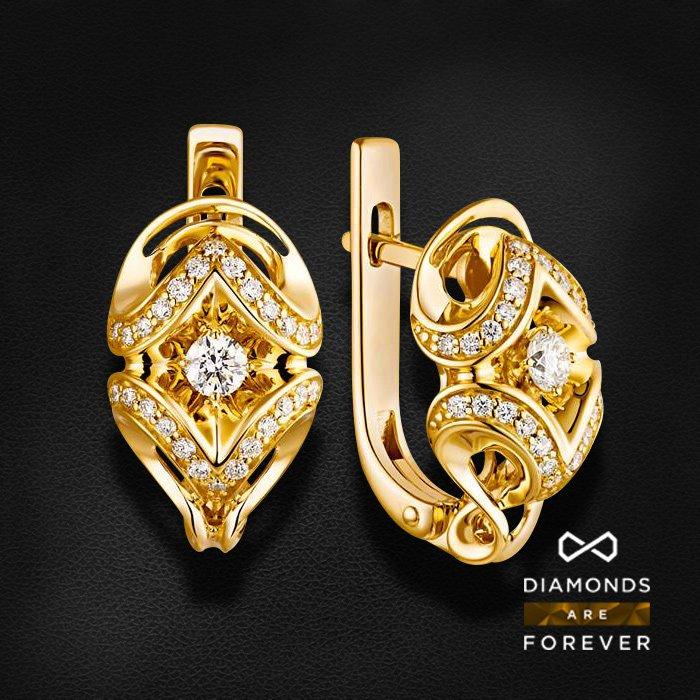 Серьги с бриллиантами из желтого золота 585 пробыСерьги<br>Серьги с бриллиантами из желтого золота 585 пробы. Характеристики вставок: 54 бриллиант 0.426 ct. Средний вес изделия: 5.89 гр.<br>