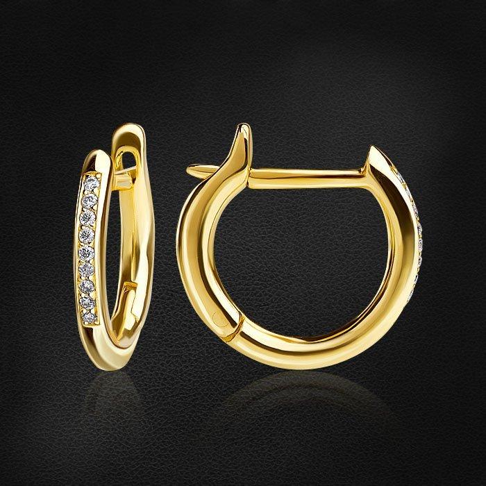 Серьги конго с бриллиантами из желтого золота 585 пробыСерьги<br>Серьги конго с бриллиантами из желтого золота 585 пробы. Характеристики вставок: 22 бриллиант круг 0,081ct 3/5. Средний вес изделия: 2,75 гр.<br>