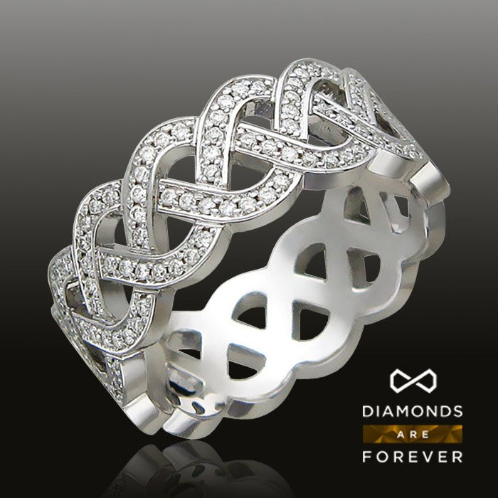 Кольцо с бриллиантами из белого золота 750 пробыЮвелирные украшения<br>Кольцо с бриллиантами из белого золота 750 пробы. Характеристики вставок: бриллиант  2/6  182шт.,0.88ct Средний вес: 7,96 гр.<br>