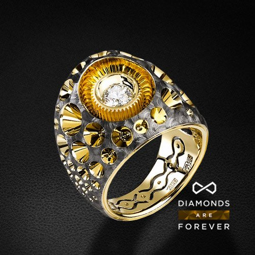 Кольцо с бриллиантами из желтого золота 585 пробыДля мужчин<br>Кольцо с бриллиантами из желтого золота 585 пробы. Характеристики вставок: 8 бриллиантов 0.52 карат 3/5. Средний вес: 18,08 гр.<br>