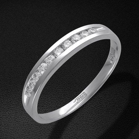 Кольцо дорожка с бриллиантами из белого золота 585 пробыЮвелирные украшения<br>Кольцо с бриллиантами из белого золота 585 пробы. Характеристики вставок: бриллиант 4/5 10шт.,0.21ct. Средний вес изделия: 2,03 гр.<br>