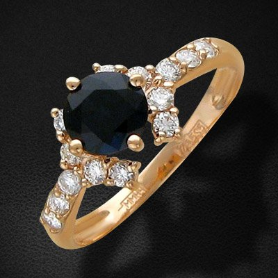 Кольцо с сапфиром, бриллиантами из красного золота 585 пробыЮвелирные украшения<br>Кольцо с сапфиром, бриллиантами из красного золота 585 пробы. Характеристики вставок: бриллиант 2/5 14шт.,0.31ct ; сапфир 3/3 1шт.,0.8ct. Средний вес изделия: 1,87 гр.<br>