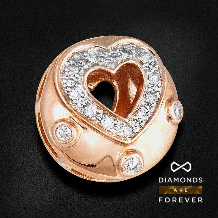 Подвеска Сердце с бриллиантами из красного золота 585 пробыКулоны<br>Подвеска Сердце с бриллиантами из красного золота 585 пробы. Характеристики вставок: 19Бр Кр-57 0.46 3/5 А. Средний вес: 2,65 гр.<br>