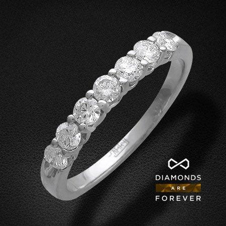 Купить Кольцо дорожка с бриллиантами Лунное сияние из белого золота 585 пробы