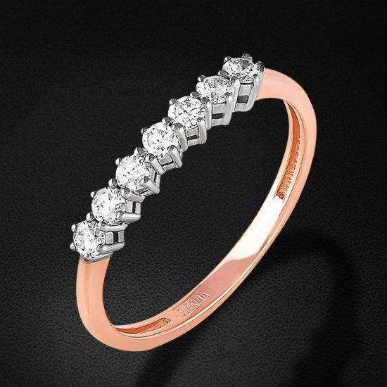 Кольцо с бриллиантами из красного золота 585 пробыКольца<br>Кольцо с бриллиантами из красного золота 585 пробы. Характеристики вставок: 7 бриллиант кр57 0,281 3/6а. Средний вес изделия: 1,67 гр.<br>